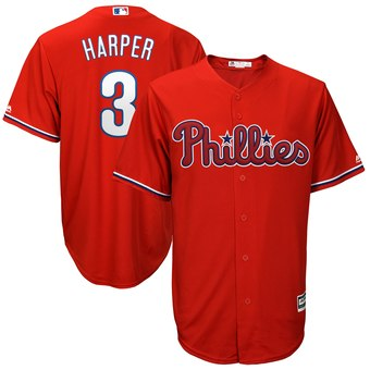 Men's Philadelphia Phillies #3 Bryce Harper Red New Cool Base Stitched MLB Jersey