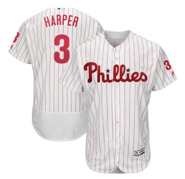Men's Philadelphia Phillies#3 Bryce Harper White Home Stitched MLB Majestic Flex Base Jersey