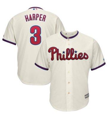 Men's Philadelphia Phillies #3 Bryce Harper Cream New Cool Base Stitched MLB Jersey