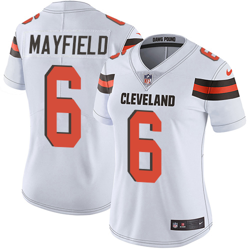 Women's Nike Cleveland Browns #6 Baker Mayfield White Stitched NFL Vapor Untouchable Limited Jersey
