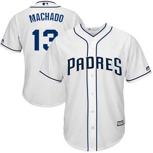 Men's San Diego Padres #13 Manny Machado White New Cool Base Stitched Baseball Jersey