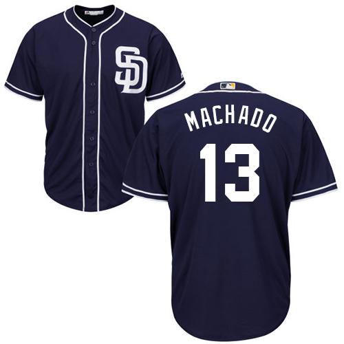 Men's San Diego Padres #13 Manny Machado Navy Blue New Cool Base Stitched Baseball Jersey