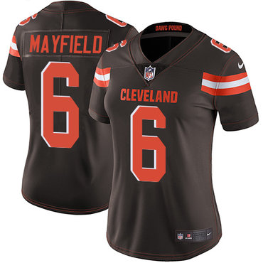 Women's Nike Cleveland Browns #6 Baker Mayfield Brown Team Color Stitched NFL Vapor Untouchable Limited Jersey