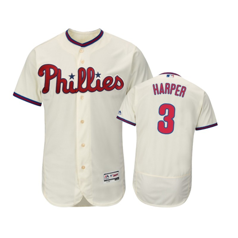 Men Philadelphia Phillies Cream #3 Bryce Harper 2019 Flex Base Jersey