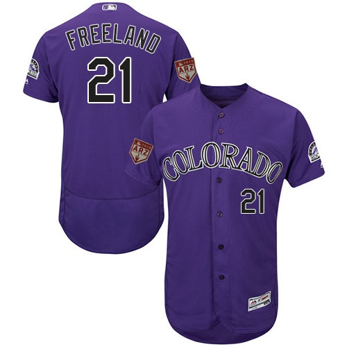 Men's Colorado Rockies #21 Kyle Freeland Purple 2019 Spring Training Flexbase Jersey