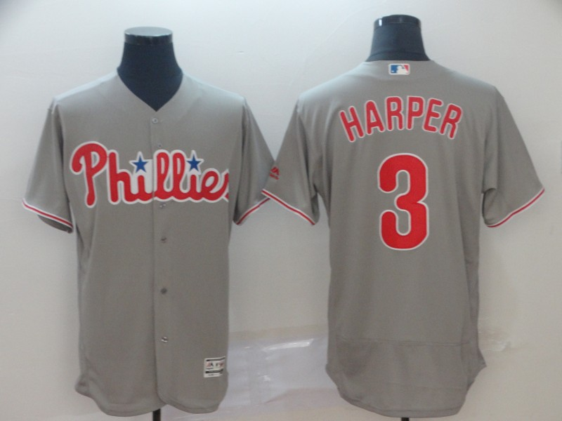 Men's Philadelphia Phillies 3 Bryce Harper Gray Flexbase Jersey