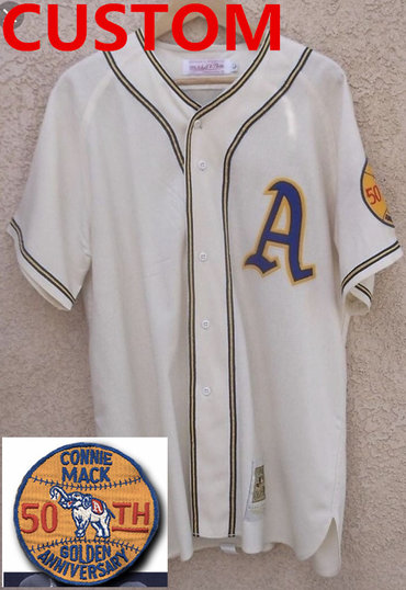 Custom Philadelphia Athletics 50th Anniversary Game Home White Flannel Jersey