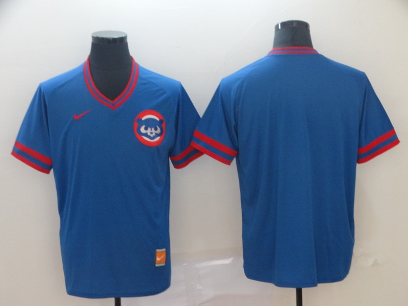 Men's Chicago Cubs Blank Blue Throwback Jersey
