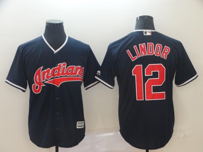 Men's Cleveland Indians 12 Francisco Lindor Navy Cool Base Jersey