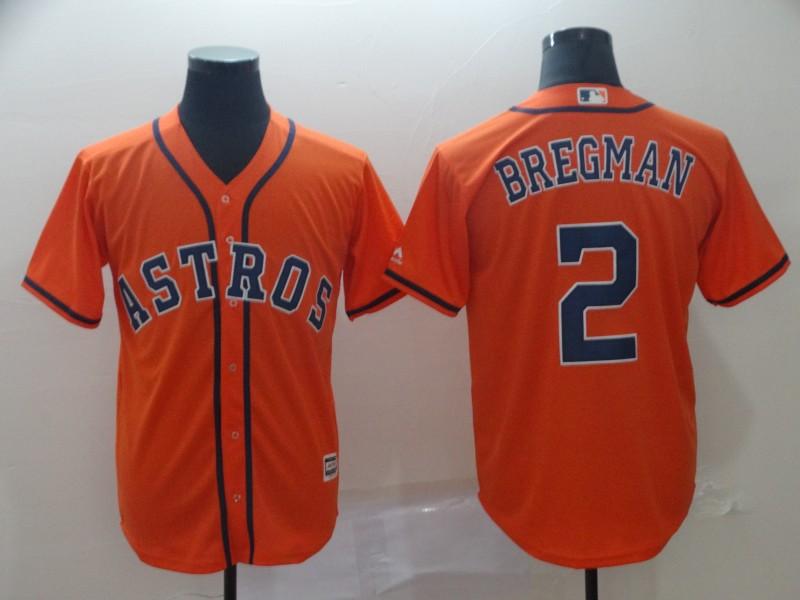 Men's Houston Astros 2 Alex Bregman Orange Cool Base Jersey