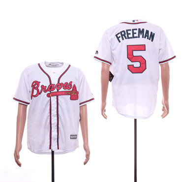 Men's Atlanta Braves 5 Freddie Freeman White Cool Base Jersey