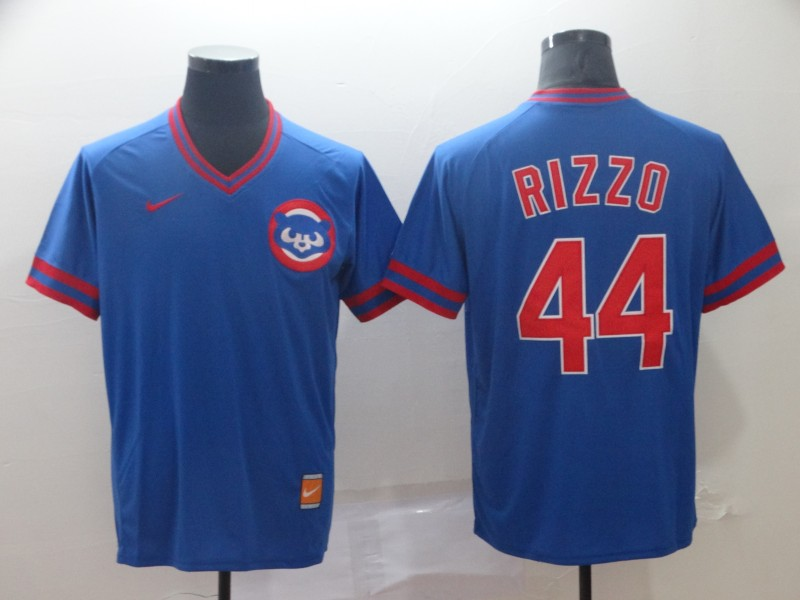Men's Chicago Cubs 44 Anthony Rizzo Blue Throwback Jersey