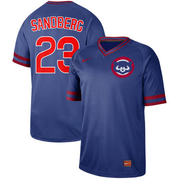 Men's Chicago Cubs 23 Ryne Sandberg Blue Throwback Jersey