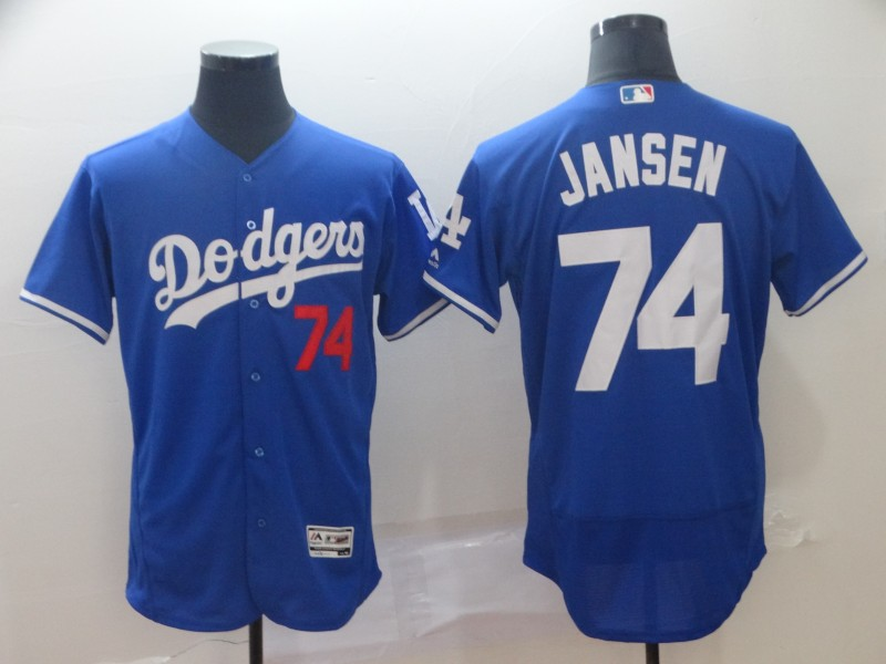 Men's Los Angeles Dodgers 74 Kenley Jansen Royal Flexbase Jersey
