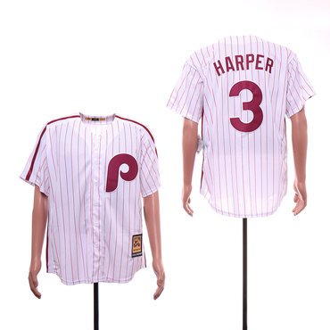 Men's Philadelphia Phillies 3 Bryce Harper White Cooperstown Collection Jersey