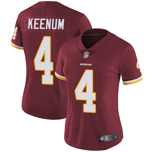 Women Nike Washington Redskins 4 Case Keenum Burgundy Vapor Untouchable Limited Jersey
