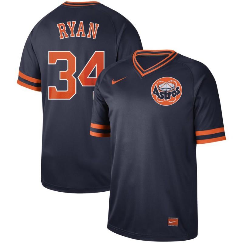 Men's Houston Astros 34 Nolan Ryan Navy Throwback Jersey
