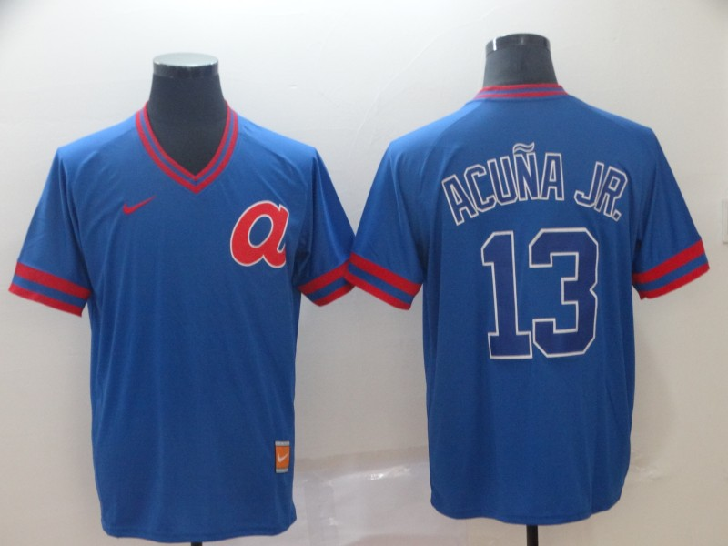 Men's Atlanta Braves 13 Ronald Acuna Jr Blue Throwback Jersey
