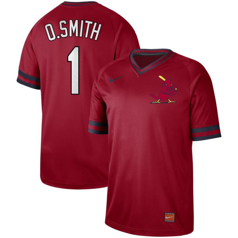 Men's St. Louis Cardinals 1 O.Smith Red Throwback Jersey