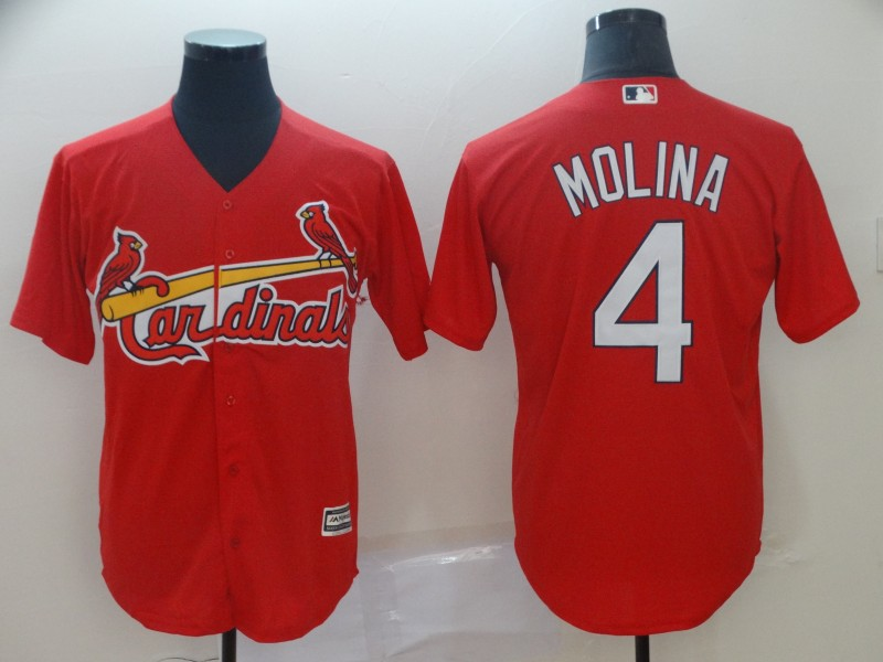 Men's St. Louis Cardinals 4 Yadier Molina Red Cool Base Jersey
