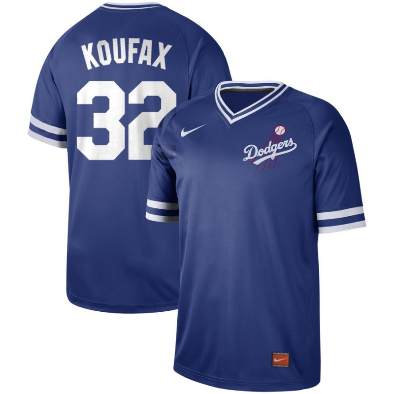 Men's Los Angeles Dodgers 32 Sandy Koufax Blue Throwback Jersey