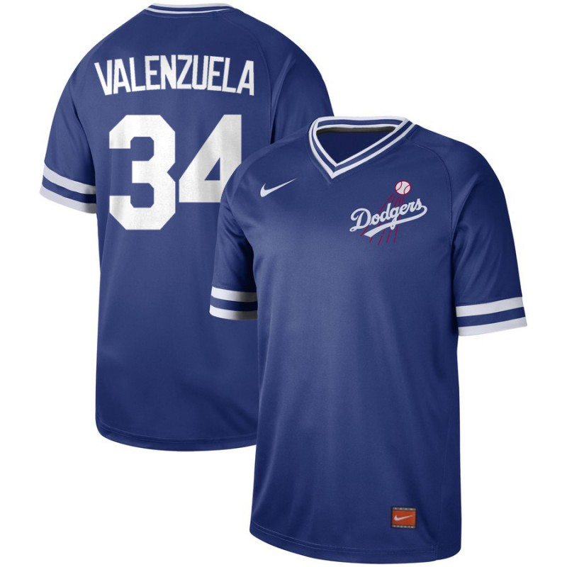 Men's Los Angeles Dodgers 34 Fernando Valenzuela Blue Throwback Jersey