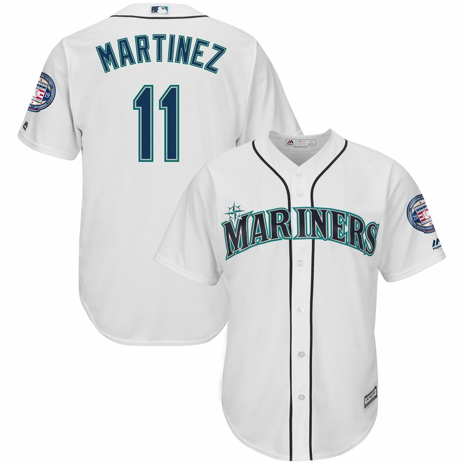 Men's Seattle Mariners 11 Edgar Martinez White 2019 Hall of Fame Induction Patch Cool Base Jersey