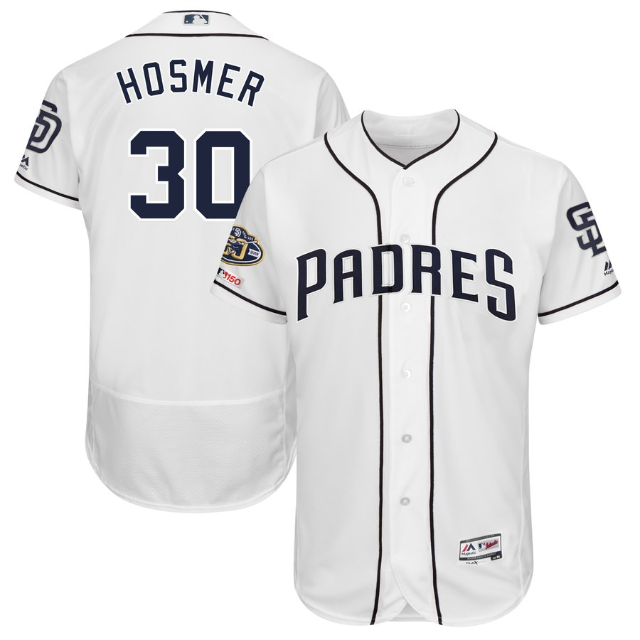 Men's San Diego Padres 30 Eric Hosmer White 50th Anniversary and 150th Patch FlexBase Jersey