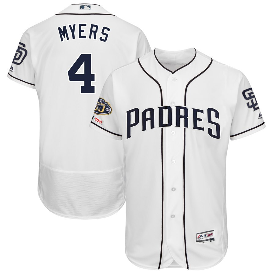 Men's San Diego Padres 4 Wil Meyers White 50th Anniversary and 150th Patch FlexBase Jersey