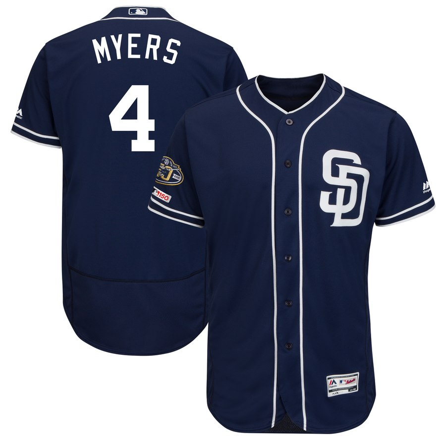 Men's San Diego Padres 4 Wil Meyers Navy 50th Anniversary and 150th Patch FlexBase Jersey
