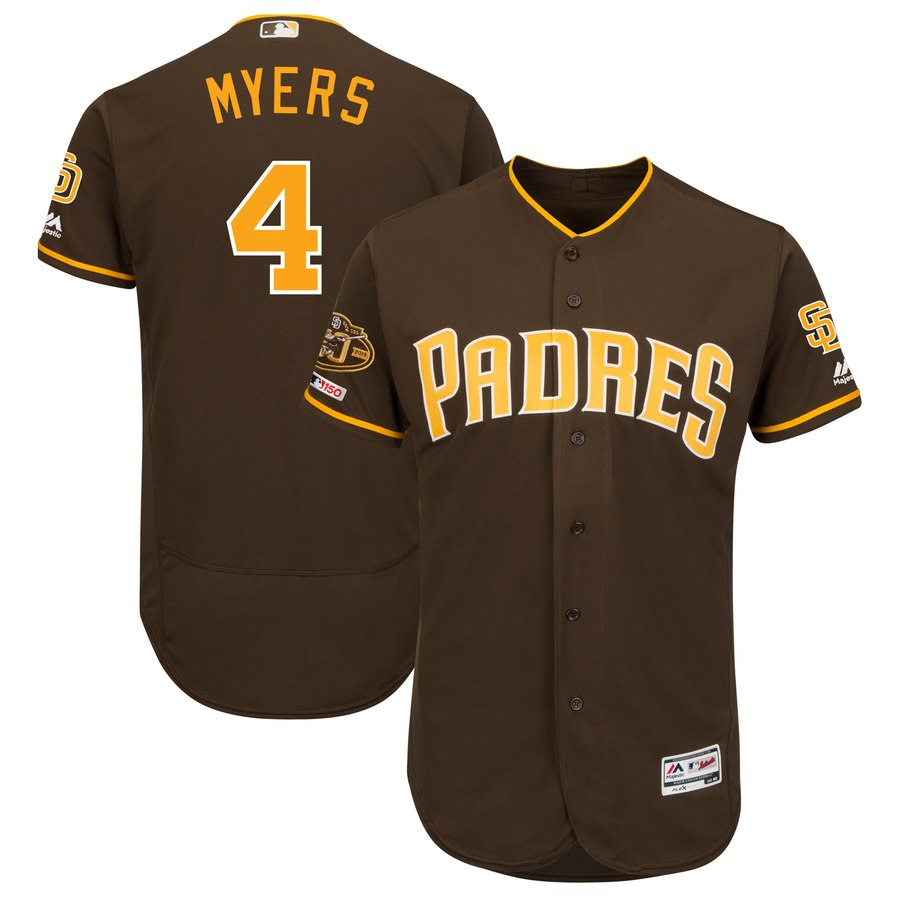 Men's San Diego Padres 4 Wil Meyers Brown 50th Anniversary and 150th Patch FlexBase Jersey