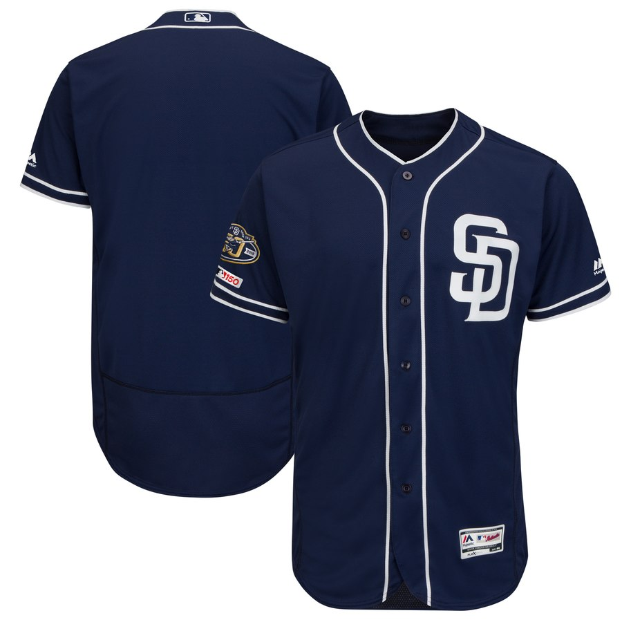Men's San Diego Padres Blank Navy 50th Anniversary and 150th Patch FlexBase Jersey