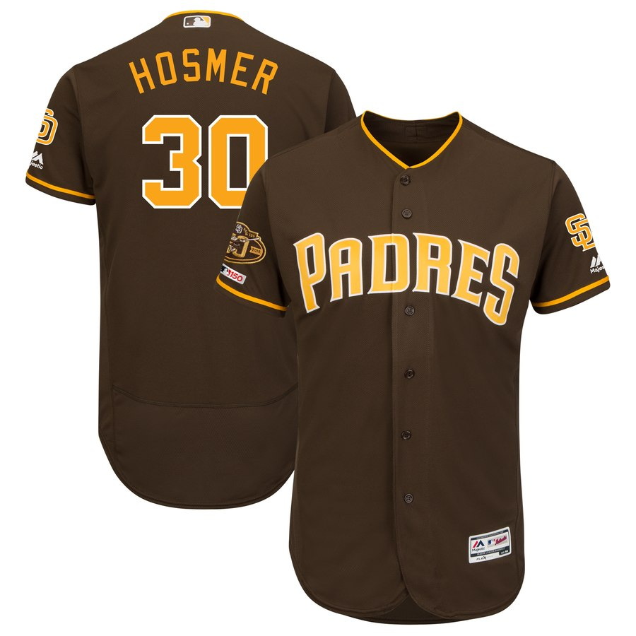 Men's San Diego Padres 30 Eric Hosmer Brown 50th Anniversary and 150th Patch FlexBase Jersey