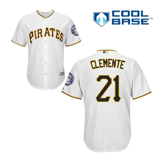 Men's Pittsburgh Pirates 21 Roberto Clemente White 2019 Hall of Fame Induction Patch Cool Base Jersey