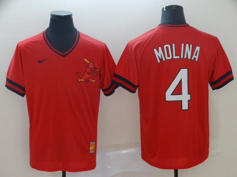 Men's St. Louis Cardinals 4 Yadier Molina Red Throwback Jersey