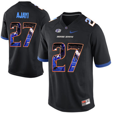 Boise State Broncos 27 Jay Ajayi Black With Portrait Print College Football Jersey