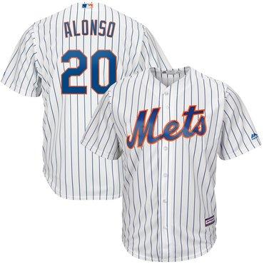 Men's New York Mets 20 Pete Alonso White Cool Base Jersey