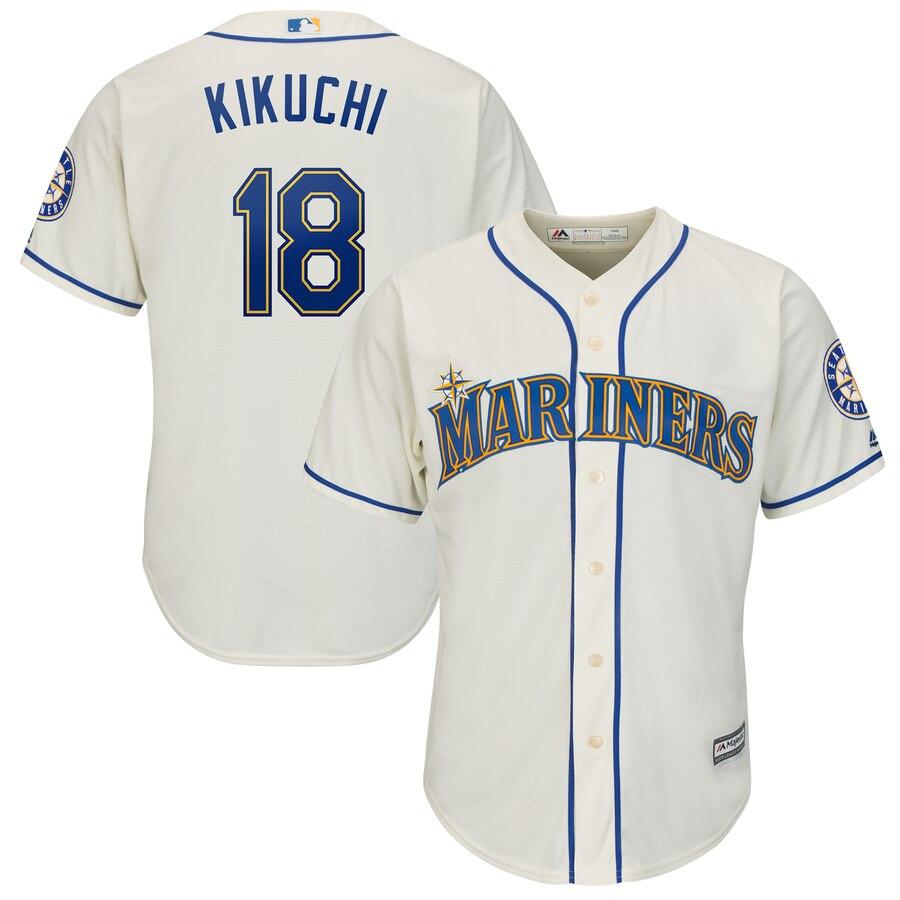 Men's Seattle Mariners 18 Yusei Kikuchi Cream Cool Base Jersey