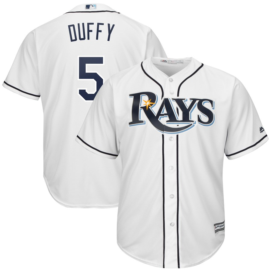 Men's Tampa Bay Rays 5 Matt Duffy White Cool Base Jersey