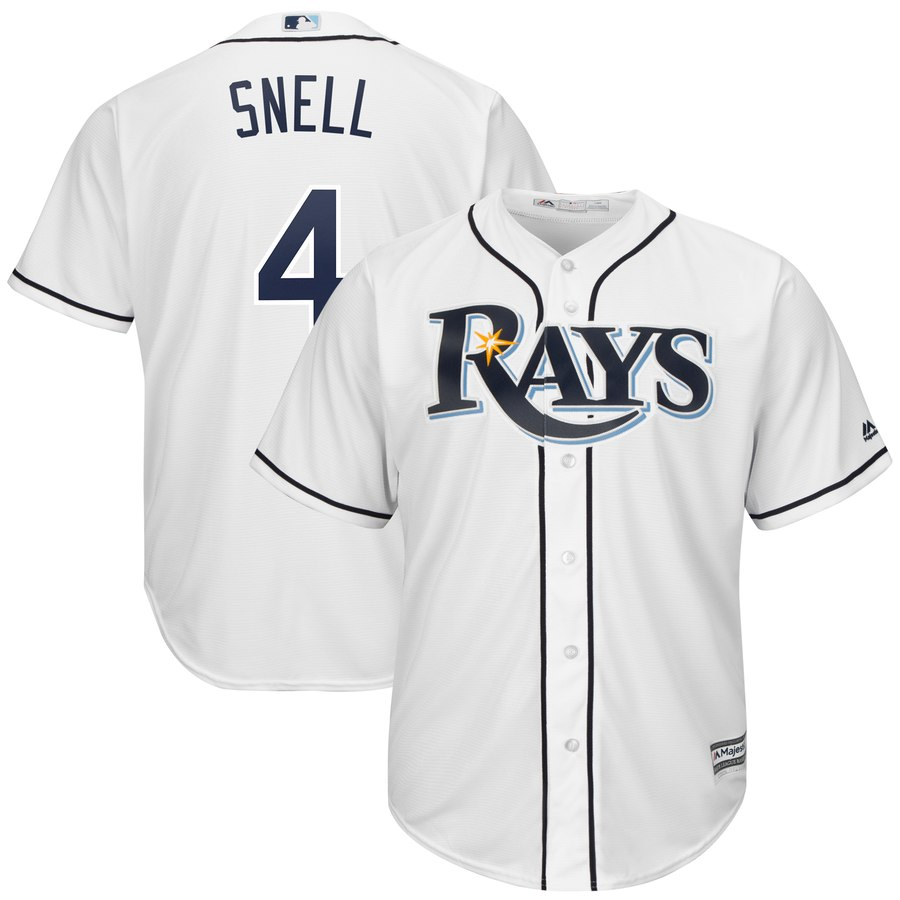 Men's Tampa Bay Rays 4 Blake Snell White Cool Base Jersey