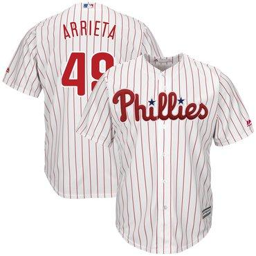 Men's Phillies 49 Jake Arrieta White Cool Base Jersey