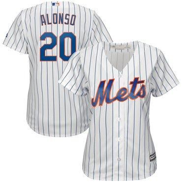 New York Mets 20 Pete Alonso White Women Cool Base Jersey