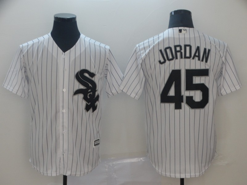 Men's Chicago White Sox 45 Michael Jordan White Cool Base Jersey