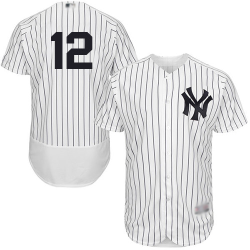 Men's New York Yankees #12 Troy Tulowitzki White Strip Flexbase Authentic Collection Stitched Baseball Jersey