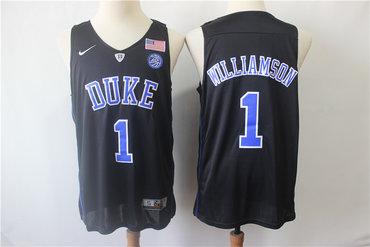 Duke Blue Devils 1 Zion Williamson Black College Basketball Jersey