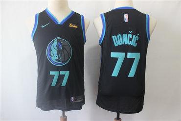 Mavericks 77 Luka Doncic Black Youth City Edition Nike Swingman Jersey