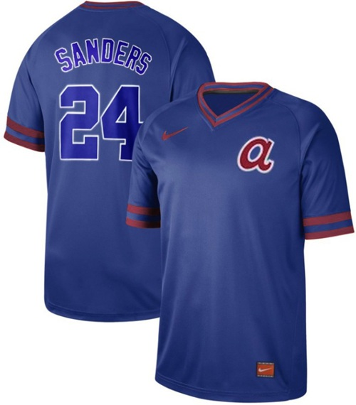 Men's Atlanta Braves #24 Deion Sanders Royal Authentic Cooperstown Collection Stitched Baseball Jersey