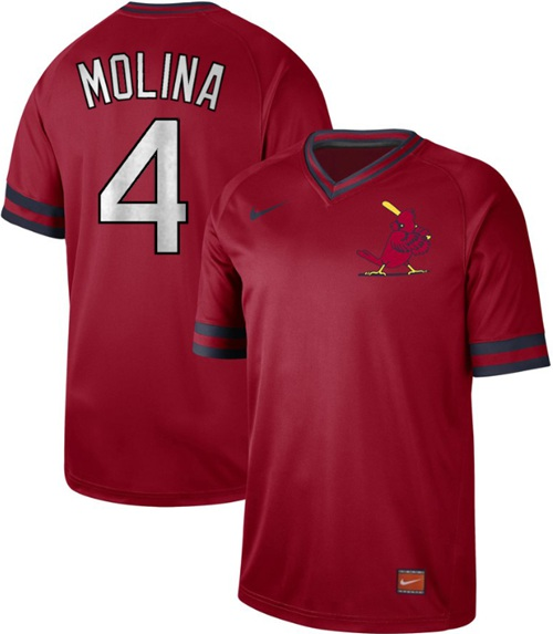 Men's St. Louis Cardinals #4 Yadier Molina Red Authentic Cooperstown Collection Stitched Baseball Jersey