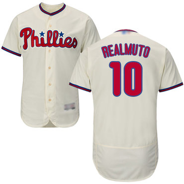 Men's Philadelphia Phillies #10 J. T. Realmuto Cream Flexbase Authentic Collection Stitched Baseball Jersey