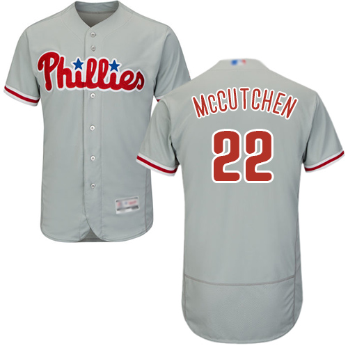 Men's Philadelphia Phillies #22 Andrew McCutchen Grey Flexbase Authentic Collection Stitched Baseball Jersey